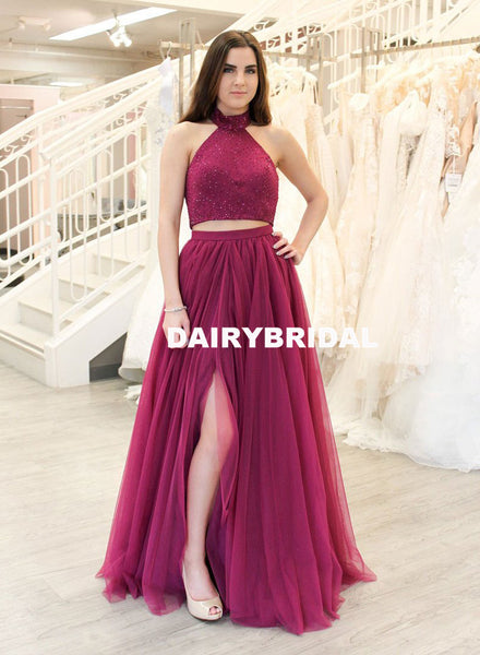 Two Pieces Tulle A-Line Halter Beaded Backless Prom Dresses, D1066