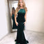 Charming Velvet Green Prom Dress, Sexy Memraid Backless Prom Dress, D1248