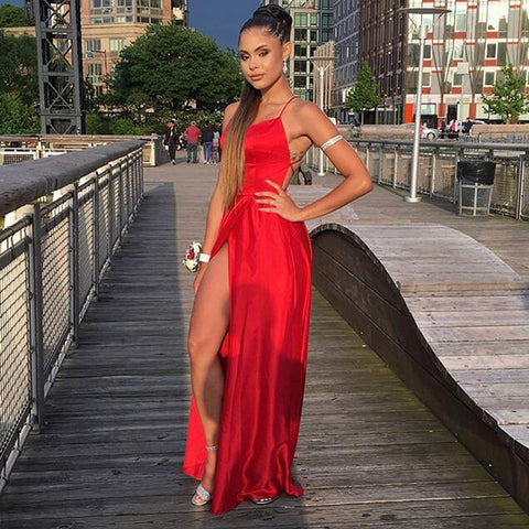 New Arrival Red Sexy Slit Prom Dresses, A-Line Backless Prom Dresses, D1291