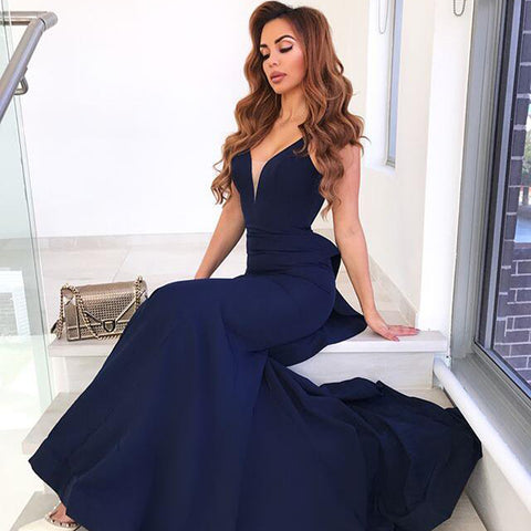 Navy Mermaid Sexy Prom Dresses, Jersey Backless Prom Dresses, D1348