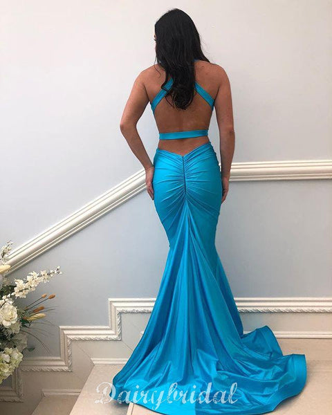 Charming V-neck Sexy Mermaid Backless Long Prom Dresses, FC3784
