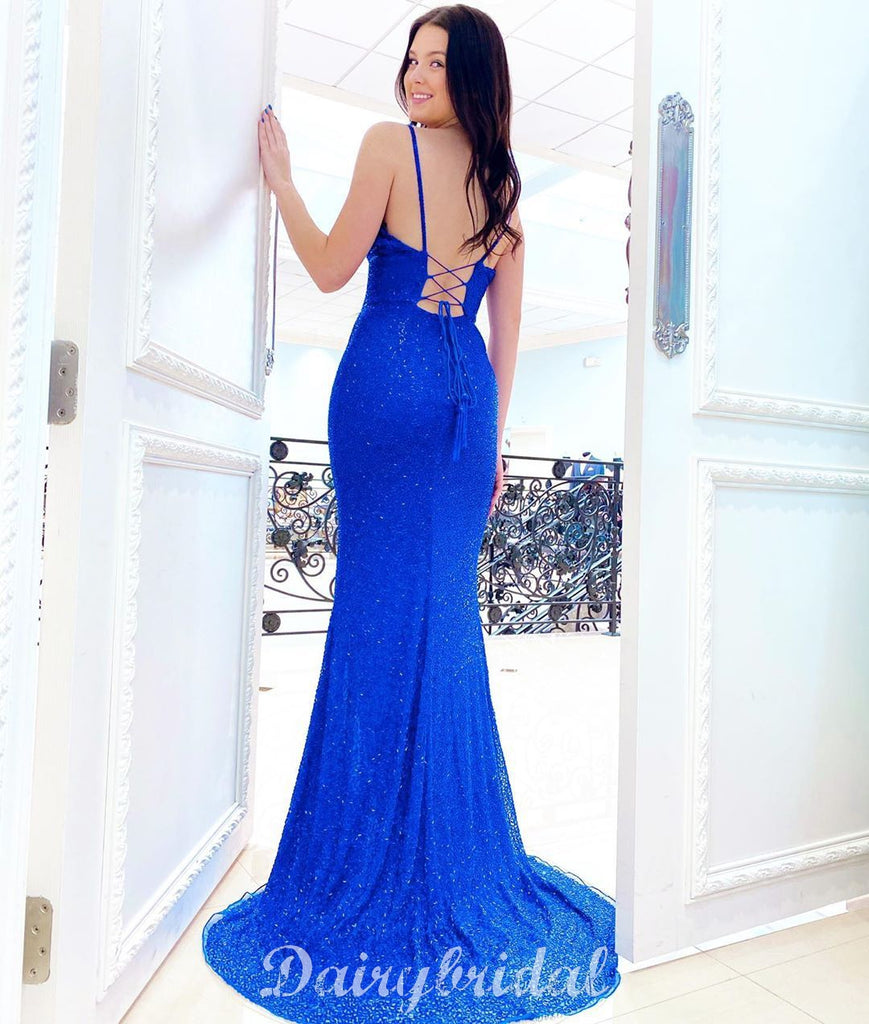 Royal Blue Mermaid Sequin V-neck Sparkle Sexy Slit Backless Prom Dress, FC4567