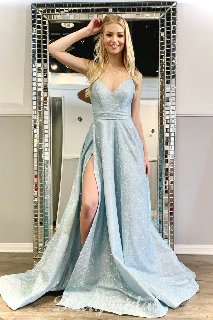 Sparkle A-line Backless Sexy Slit floor-Length Prom Dresses, FC4611