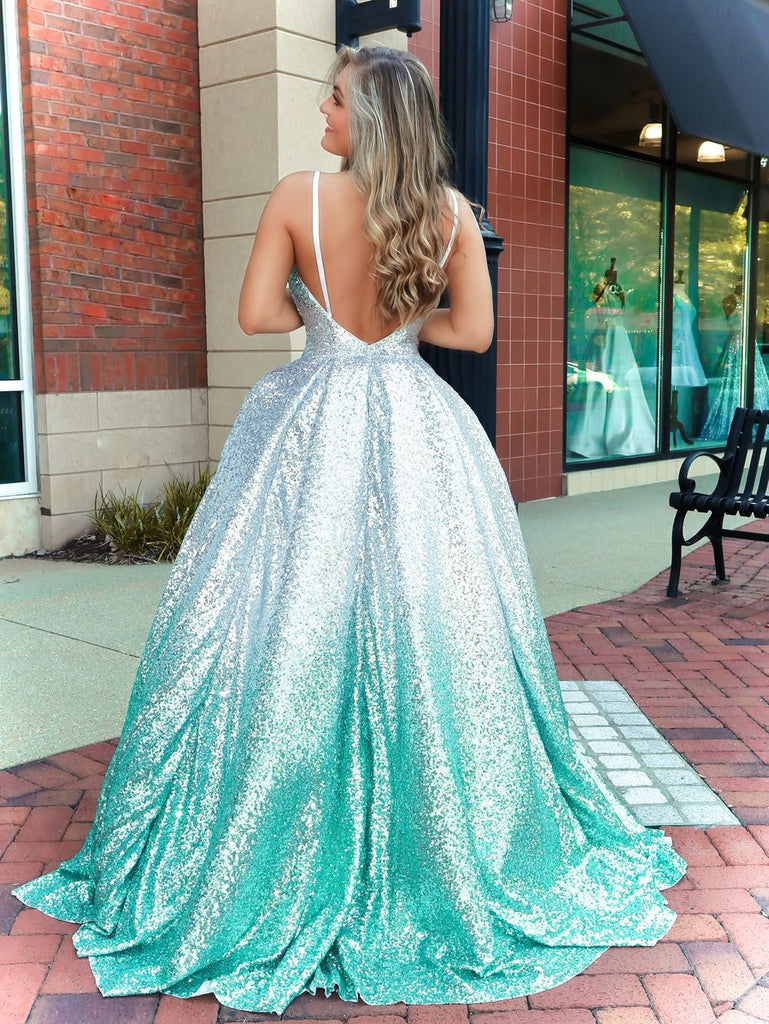 Unique Gradual Sequin A-line Spaghetti Straps Backless Prom Dress, FC5210