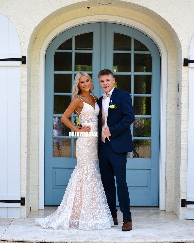 Stunning Mermaid Spaghetti Straps Lace Prom Dress, FC5287