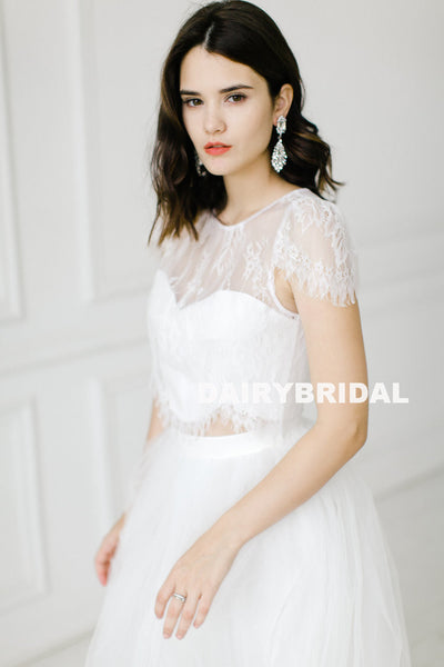 Vintage Two Pieces Cap Sleeve Lace Top White Lace Long A-Line Tulle Backless Wedding Dresses, D840