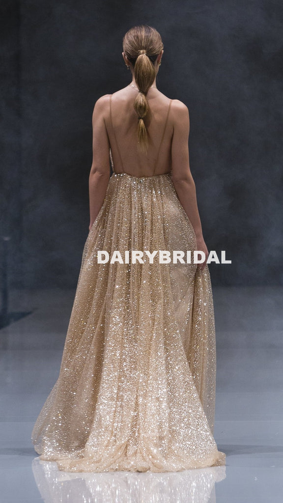 Sparkle Sequin Tulle V-Neck Prom Dresses, Sexy Golden Backless Prom Dresses, D923