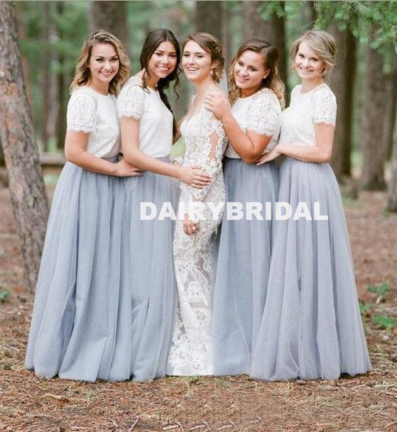 Long A-Line Tulle Bridesmaid Dress, Cheap Short Sleeve Bridesmaid Dress, D946
