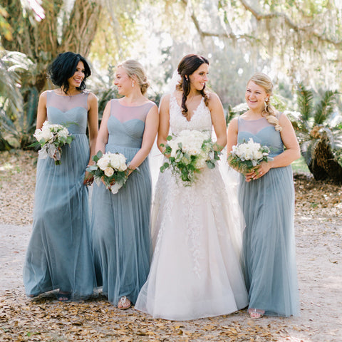 Long Round Neckline Bridesmaid Dress, Tulle Backless A-Line Cheap Bridesmaid Dress, D967