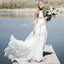 Deep V-Neck Chiffon A-Line Backless Lace Cheap Wedding Dresses, FC1650