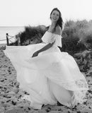 Charming Off Shoulder Chiffon A-Line Two Pieces Lace Wedding Dresses, FC1708