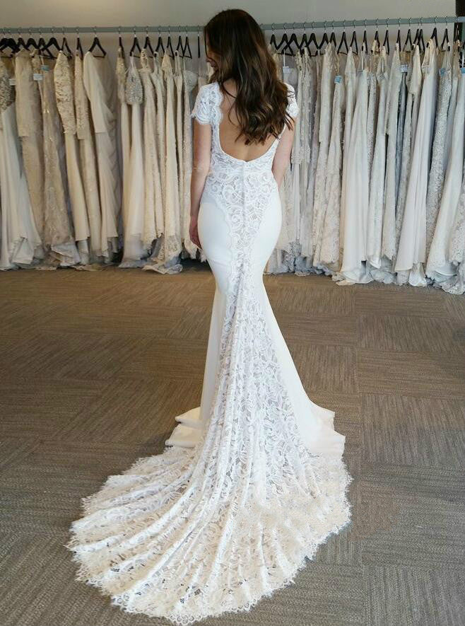 Sexy Mermaid Lace Short Sleeve Backless Wedding Dresses, FC1842