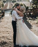 Inexpensive Sweetheart Chiffon A-line Backless Applique Wedding Dresses, FC1902