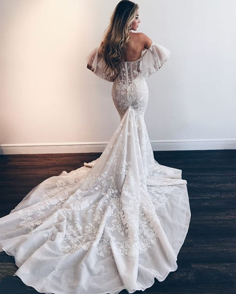 Sexy Mermaid Backless Lace Sheath Tulle Charming Wedding Dresses, FC1911
