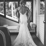 Spaghetti Straps Mermaid Sexy Backless Slit Lace Wedding Dress, FC2380