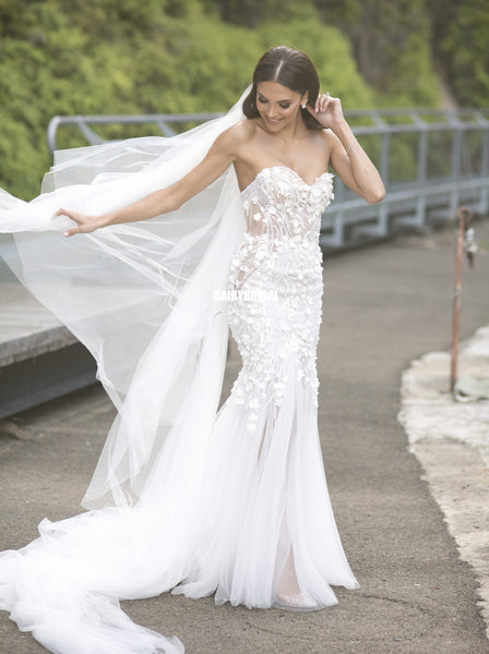 Sweetheart Mermaid Lace Backless Slit Tulle Wedding Dresses, FC2440