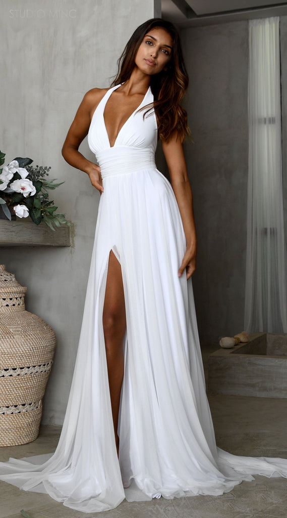 Simple A-line Chiffon Slit Deep V-neck Backless Wedding Dresses, FC2558
