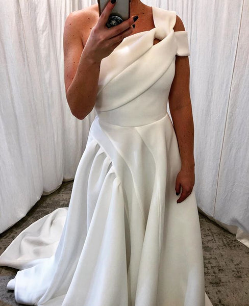 A-line Satin One Shoulder Honest Wedding Dresses, FC2740