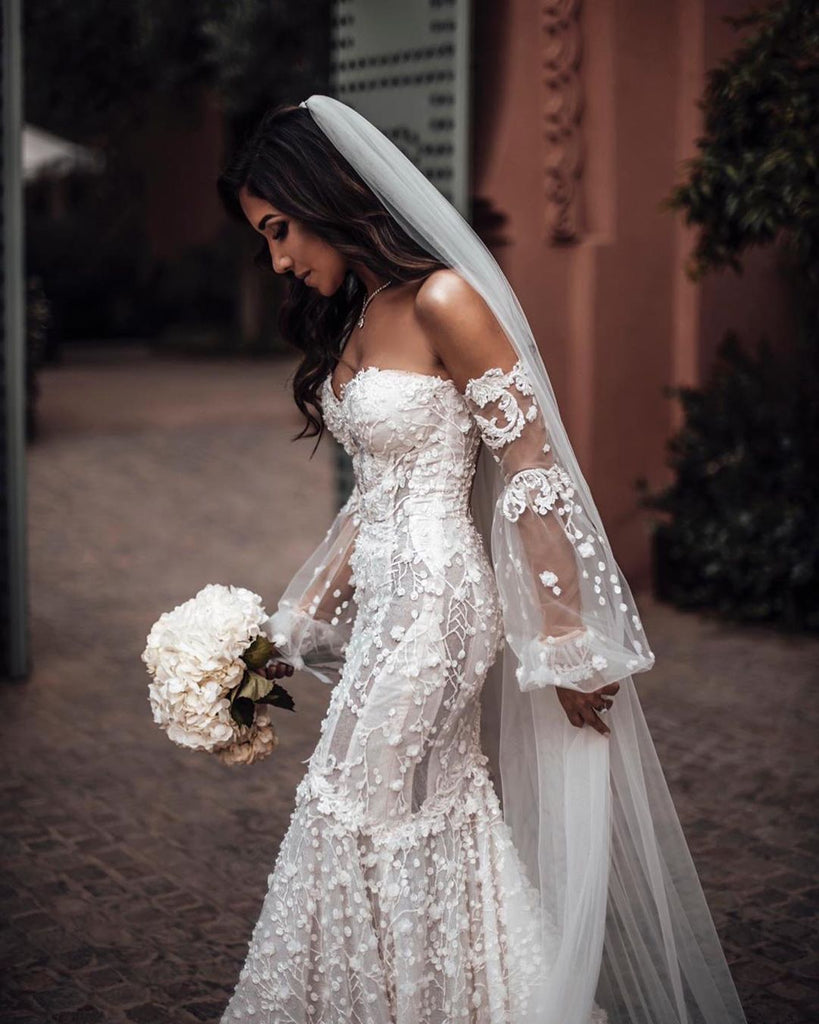 Charming Mermaid Lace Backless Long Sleeves Sweetheart Wedding Dresses, FC4283