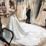 New Arrival Satin A-Line Wedding Dresses, Charming Applique Backless Wedding Gowns, FC566