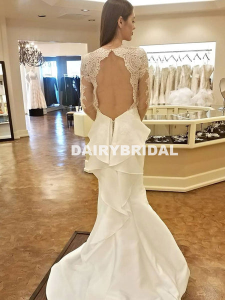 Long Sleeve Open-Back Lace Wedding Dress, Charming Mermaid Satin Wedding Dress, D1049