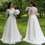 Vintage Lace Top Long Wedding Dress, Half Sleesve Tulle Cheap A-Line Wedding Dress, D1054