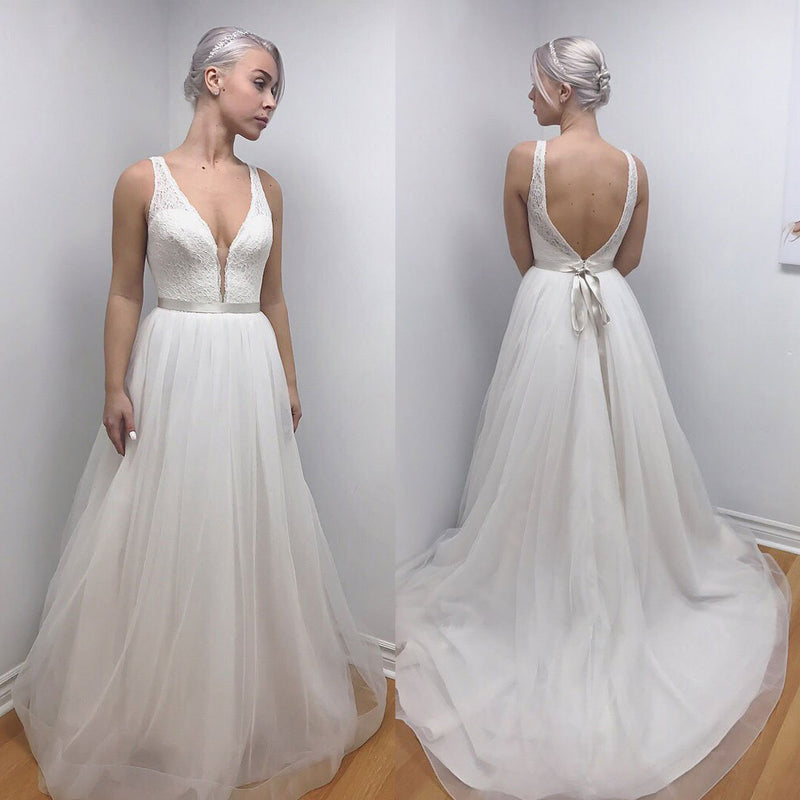 Lace Top Cheap Long Wedding Dress, A-Line Organza Backless Wedding ...
