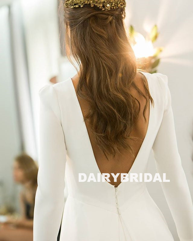Detachable Satin Unique Designed Lace A-Line Long Sleeve Backless Wedding Dress, D1127