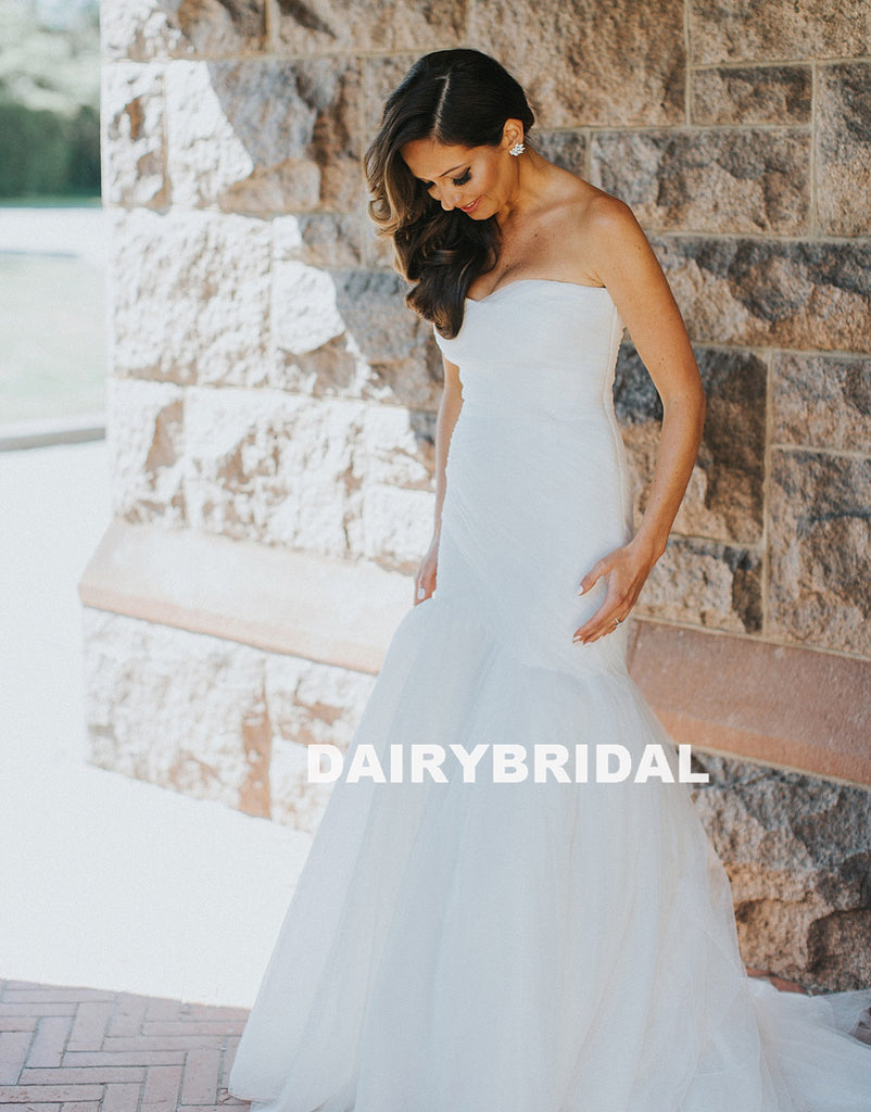Charming Sweet Heart Mermaid Wedding Dresses, White Tulle Backless Wedding Dresses, D1134