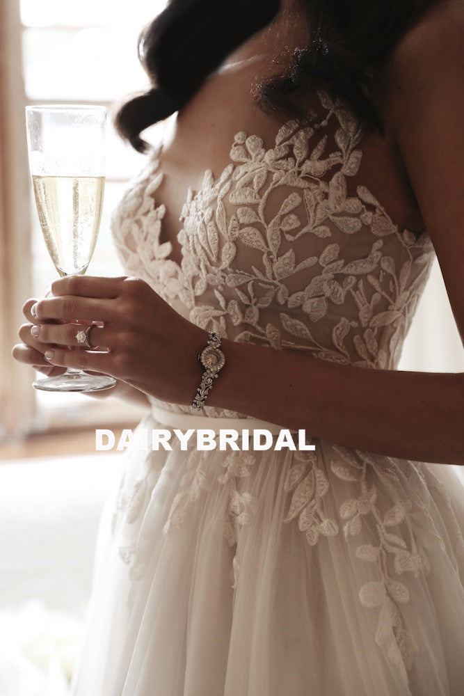 Charming A-Line Tulle Wedding Dress, Elegant Sleeveless Applique Bridal Dress, D1337