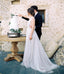 Long A-Line Tulle Wedding Dress, Lace V-Neck Backless Wedding Dress, D1396