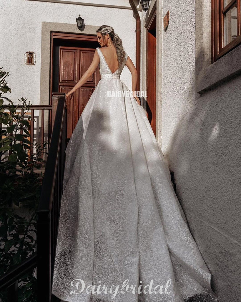 Sparkly A-line V-neck Backless Tulle Sleeveless Wedding Dresses, FC3916