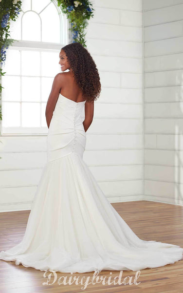 Newest Sweetheart Mermaid Tulle Backless Wedding Dresses, FC4648