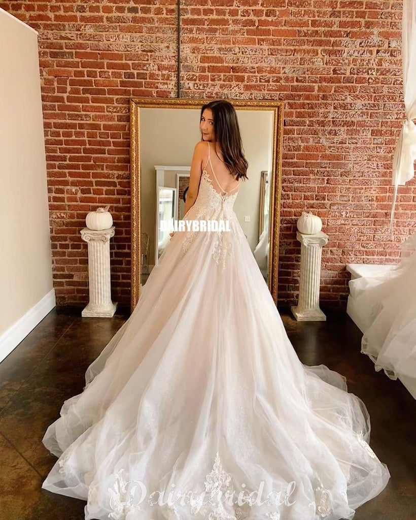 Gorgeous Spahetti Straps A-line Lace top Tulle Wedding Dress, FC4649