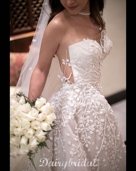 Gorgeous A-line Long Sleeves Lace Wedding Dress with detachable Skirt, FC4840