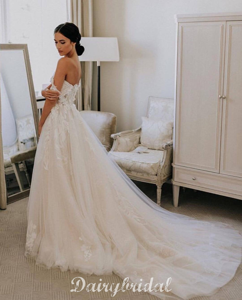 Off Shoulder Lace A-line Backless Tulle Long Wedding Dress, FC4855