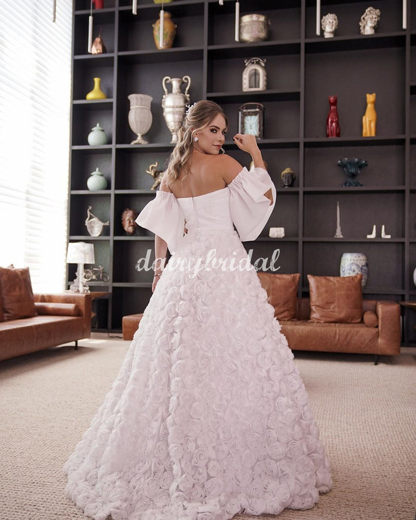 A-line Gorgeous 3D Floral Backless Wedding Dress, FC5080