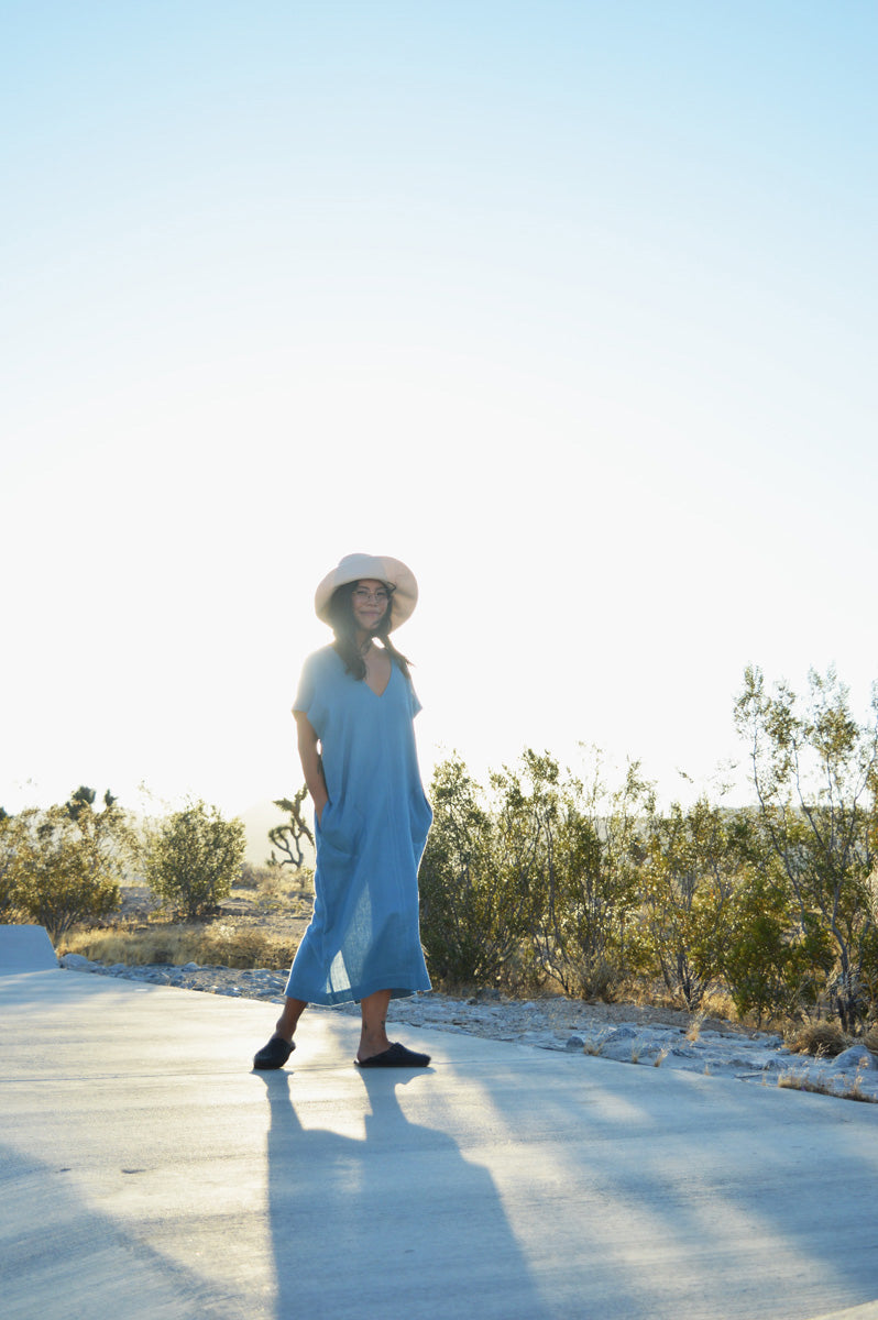 Shop on the Mesa - Sleeveless Caftan Dress in Sky Blue