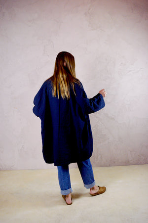 Atelier Delphine - Cotton Haori Coat in Dark Navy