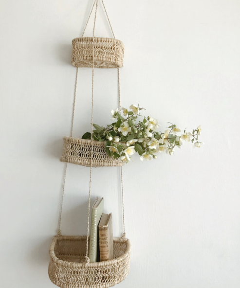 Hand Woven 3 Tiered Hanging Basket - Half Moon