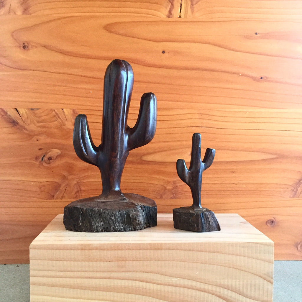 Carved Wood Cactus Sculptures