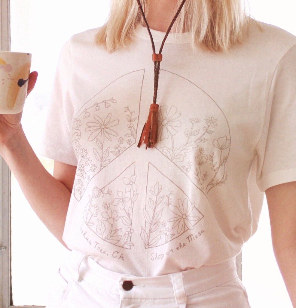 Peace Wildflower Tee - Grey, Natural