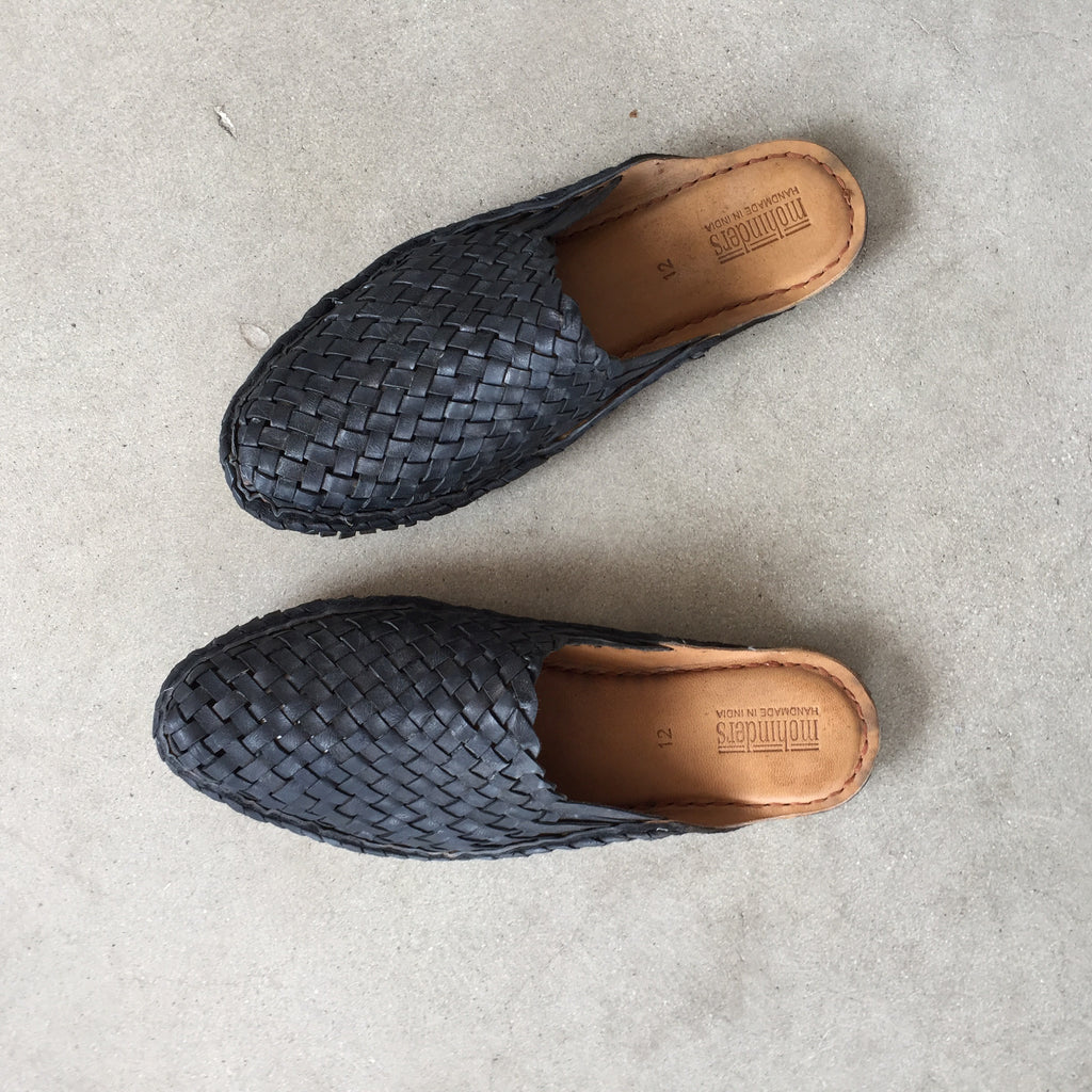 Mohinders - Mens Black Woven City Slippers