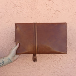 Wrapped Leather Oversize Clutch
