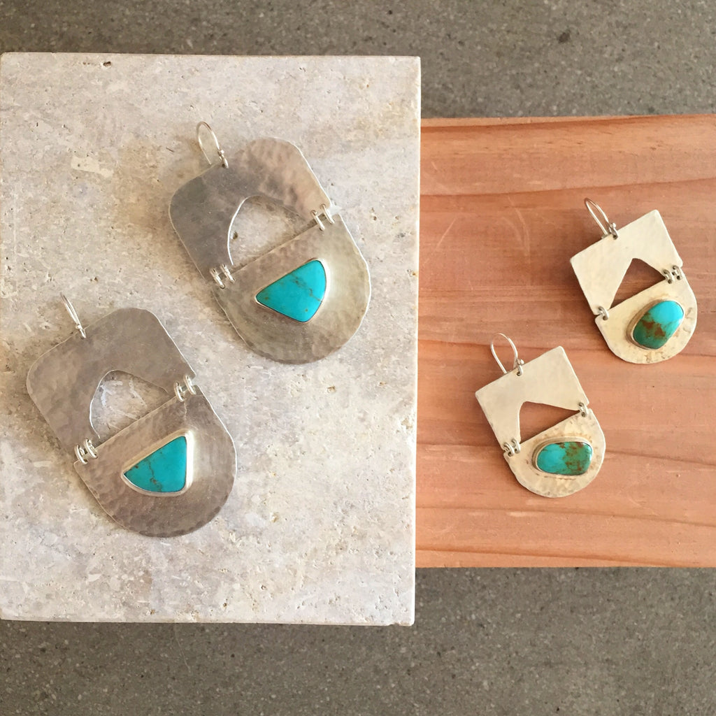 Chela Gurnee Silver & Turquoise Shapes earrings