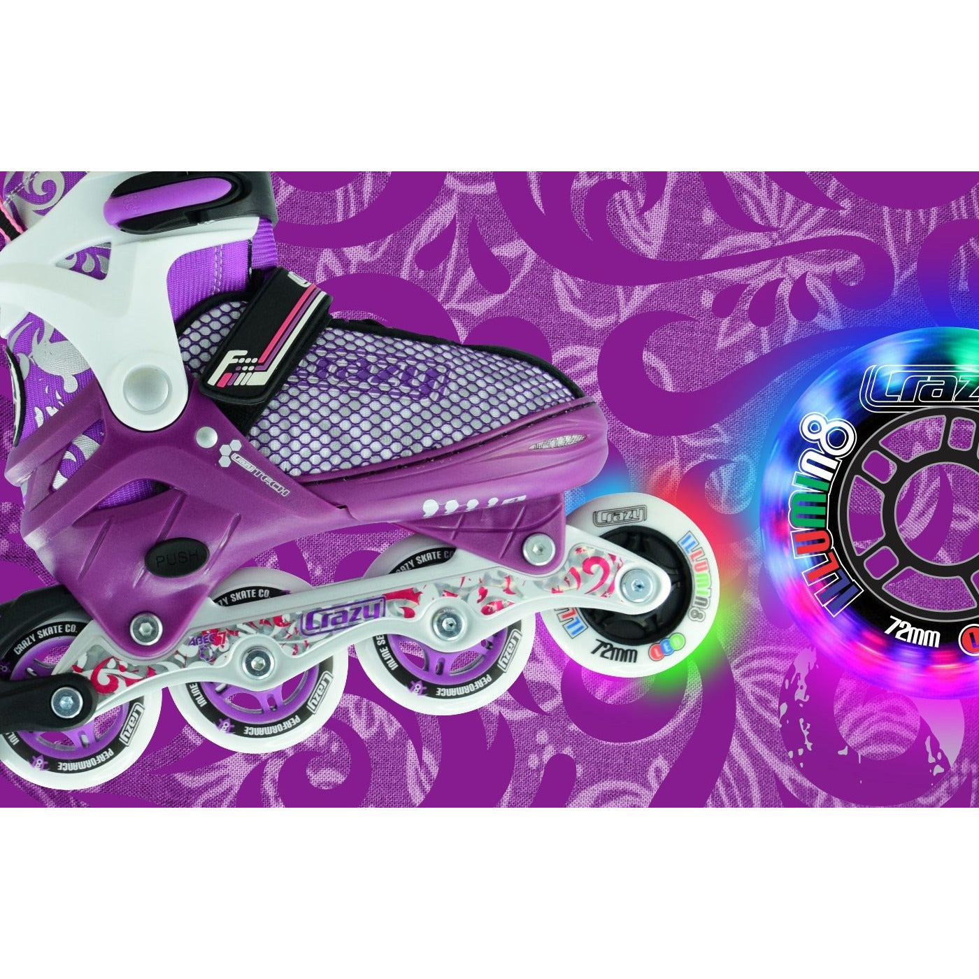 Crazy Skates 168 Adjustable Inline Skates Purple/White