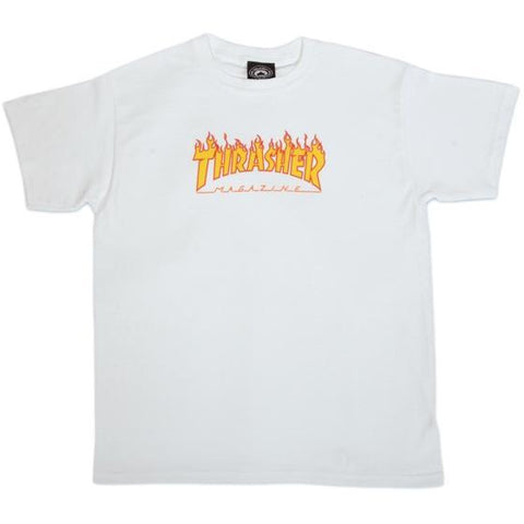 Thrasher Flame Logo Youth Tee White