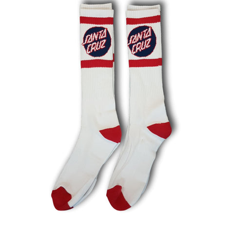 Santa Cruz SC Strip Tall Socks (2 pack) White/Red