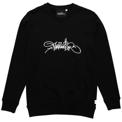Materialism Logo Pull Over Hoodie Black