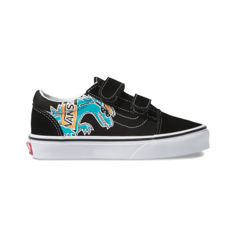 Vans Old Skool V Vanosaur Youth Blk/White